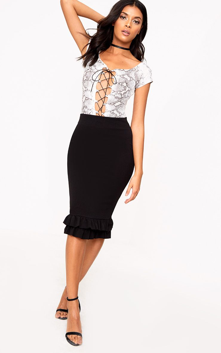 Black Double Frill Midi Skirt