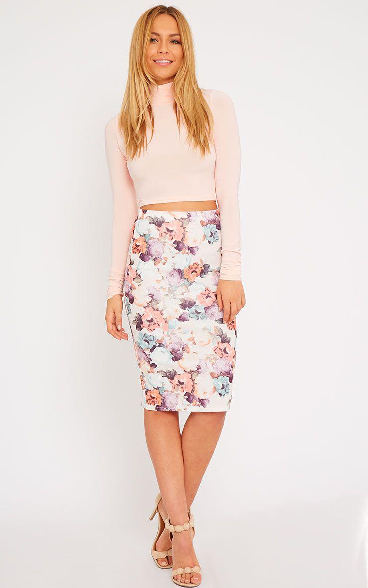 Louisa Cream Floral Print Midi Skirt 1