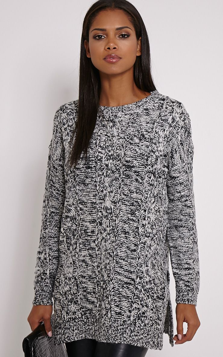 Fallon Grey Cable Knit Jumper 1