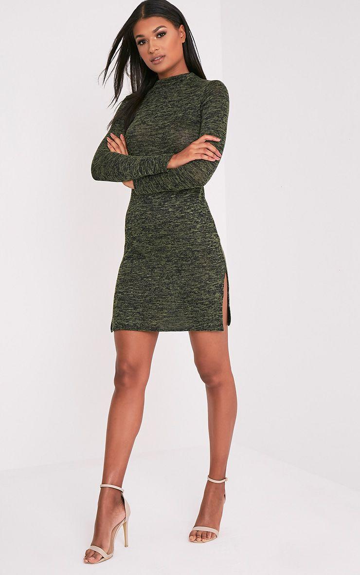 Nesta Khaki Knitted split high neck dress 1