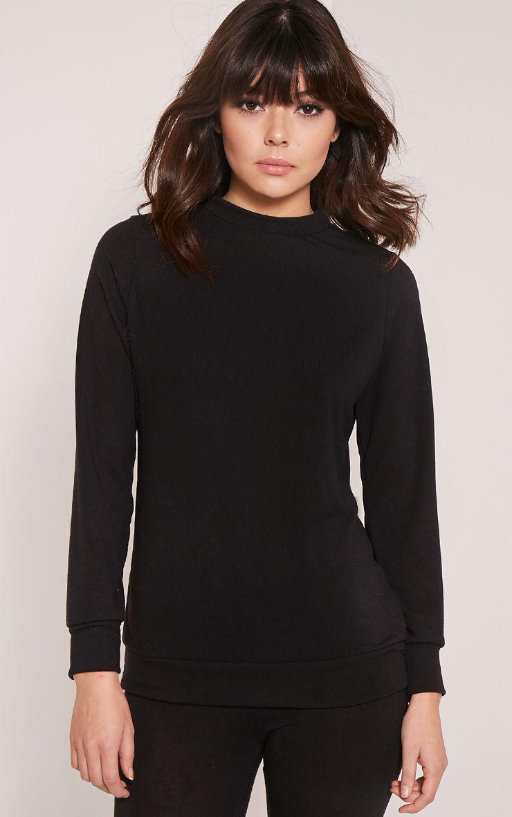 Dannie Black Long Sleeve Tracksuit Sweatshirt 1
