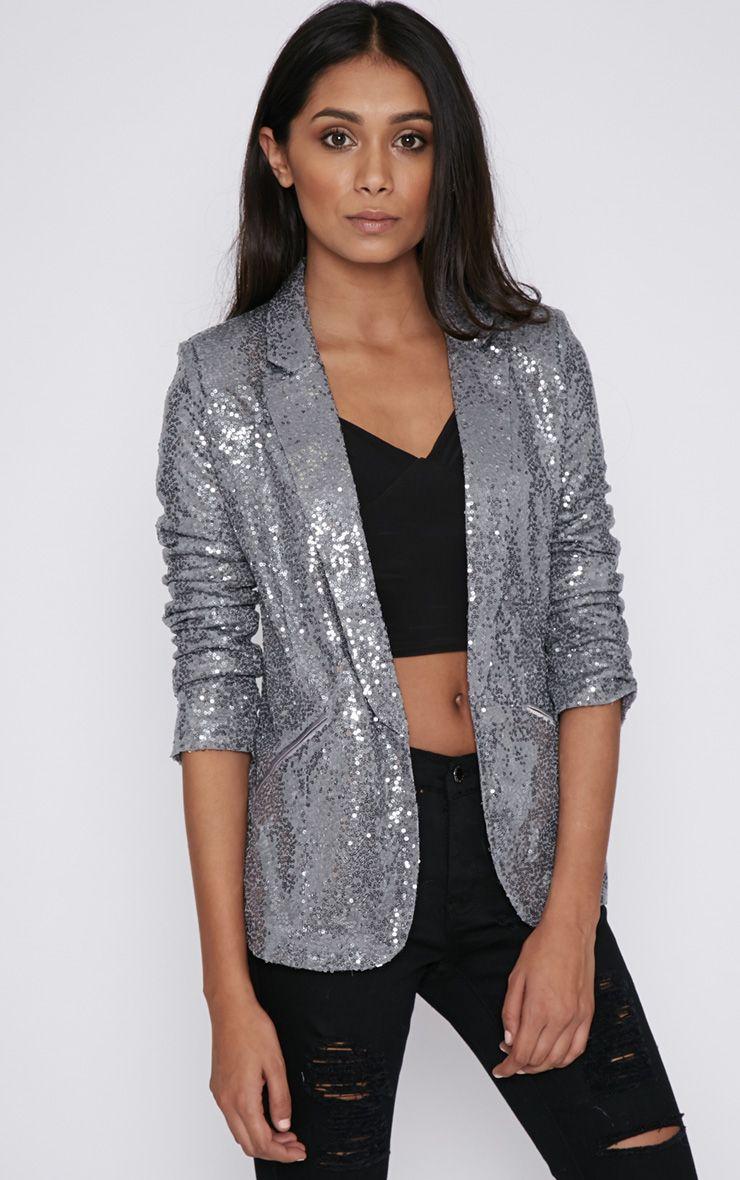 Bobbie Silver Sequin Blazer  1