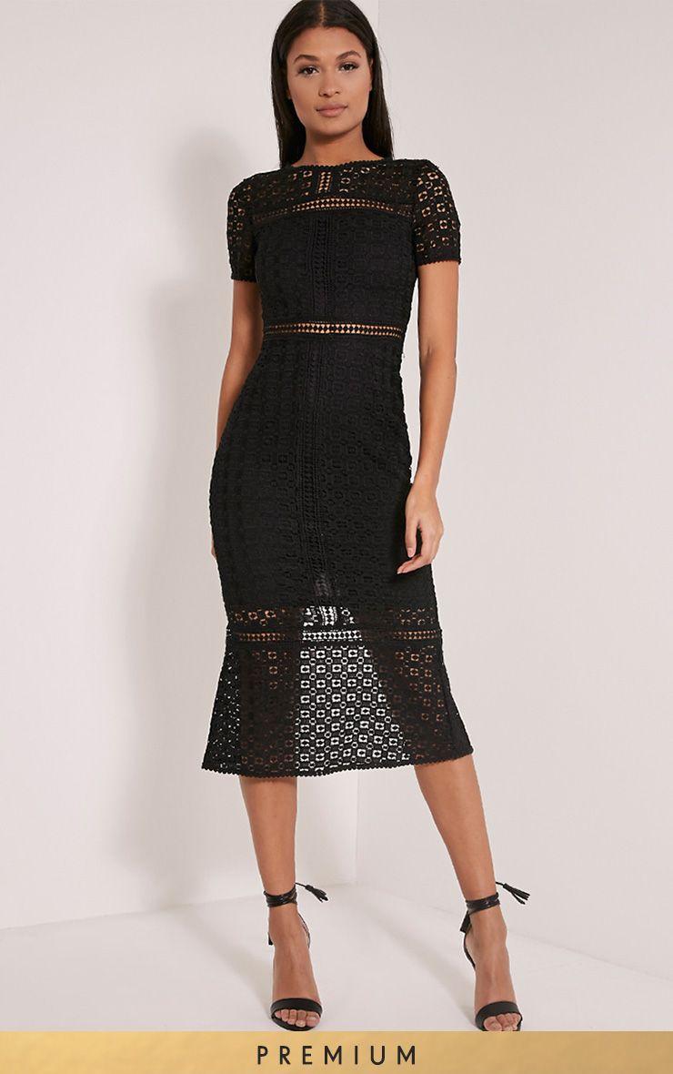 Midira Premium Black Crochet Lace Midi Dress