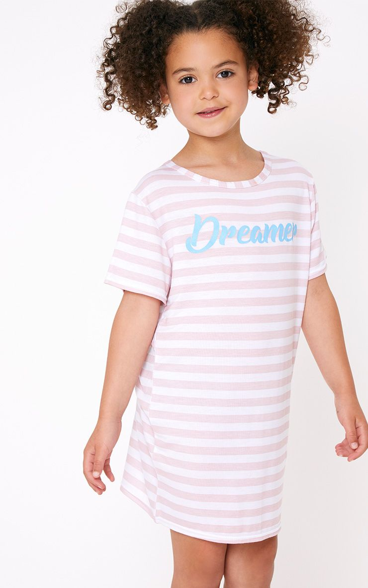 Robe t-shirt rose à rayures et slogan Dreamer