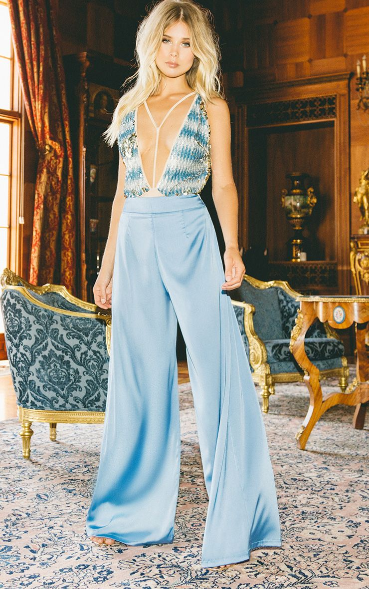 Dasia Blue Satin Pleated Wide Leg Trousers