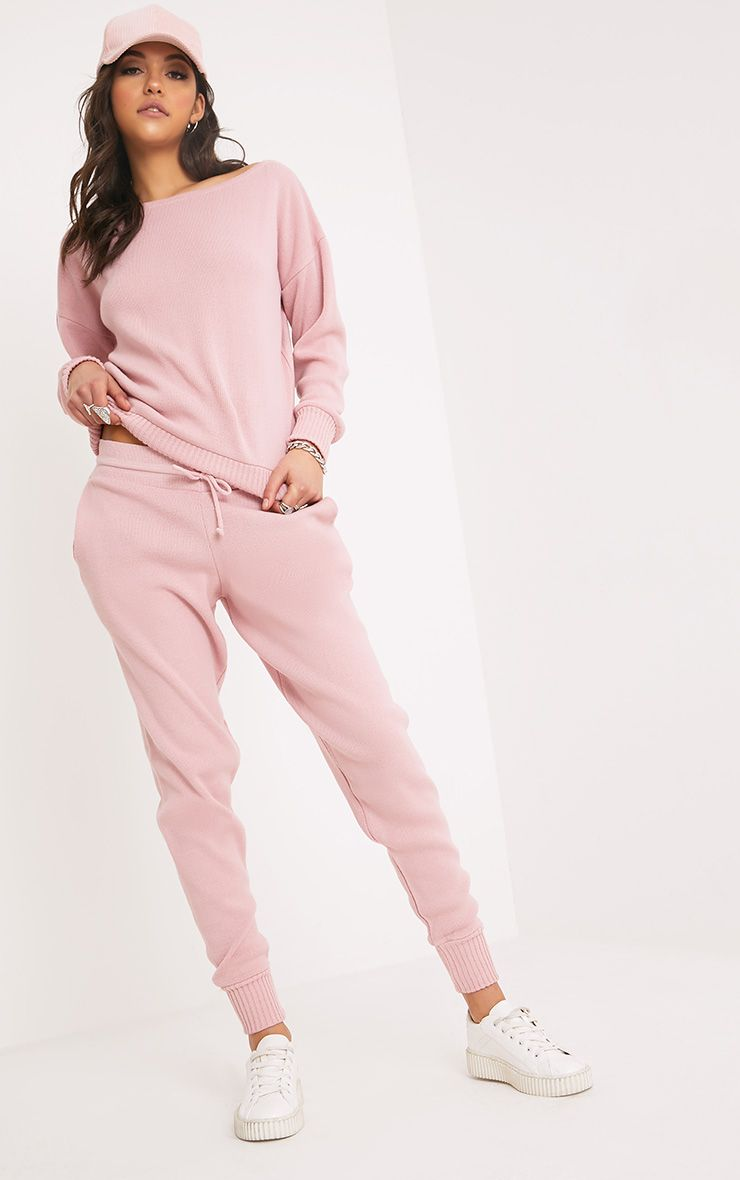 Auriel Pink Jogger Jumper Knitted Lounge Set