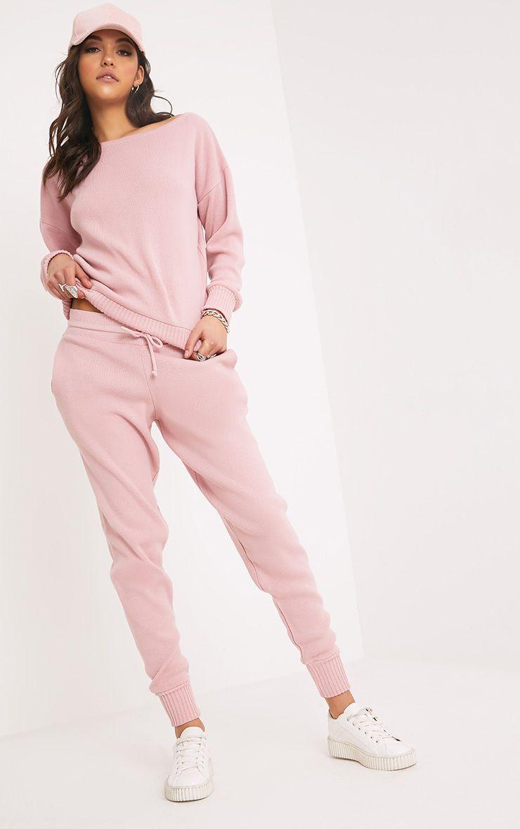 Auriel ensemble confort tricoté rose pull et jogging