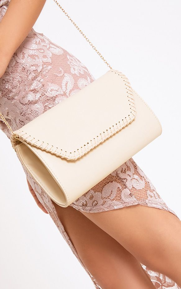 Nude Stitched Edge Clutch Bag