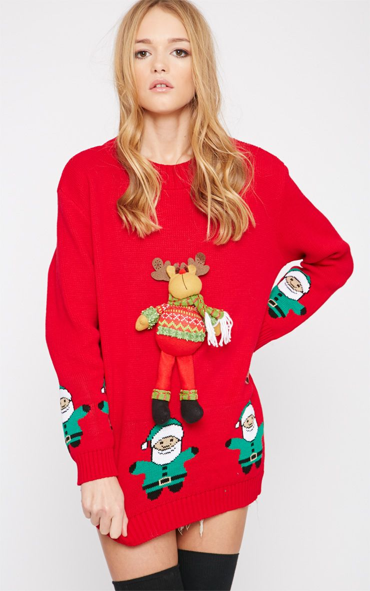 Hartley Red 3D Rudolph Toy Christmas Jumper  1