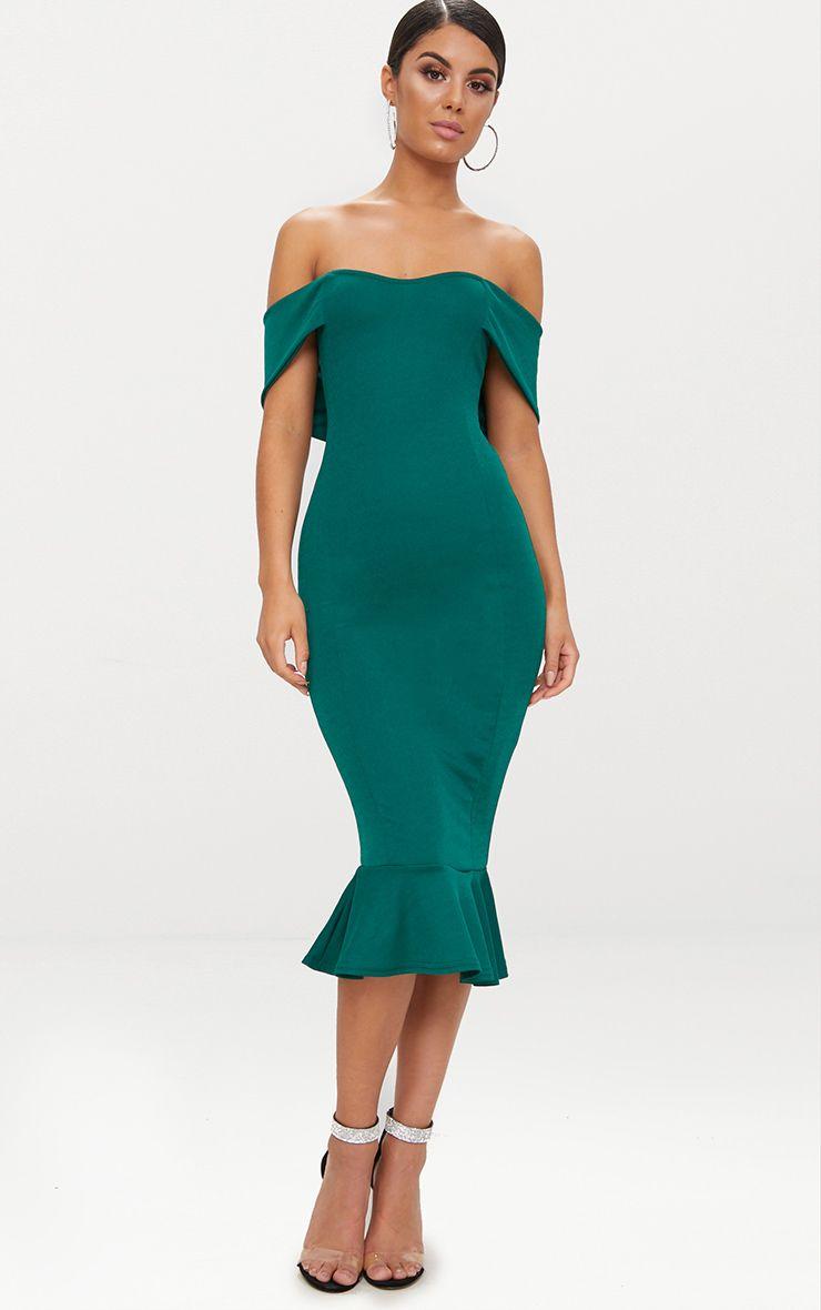 Emerald Green Bardot Frill Hem Midi Dress | Dresses ...
