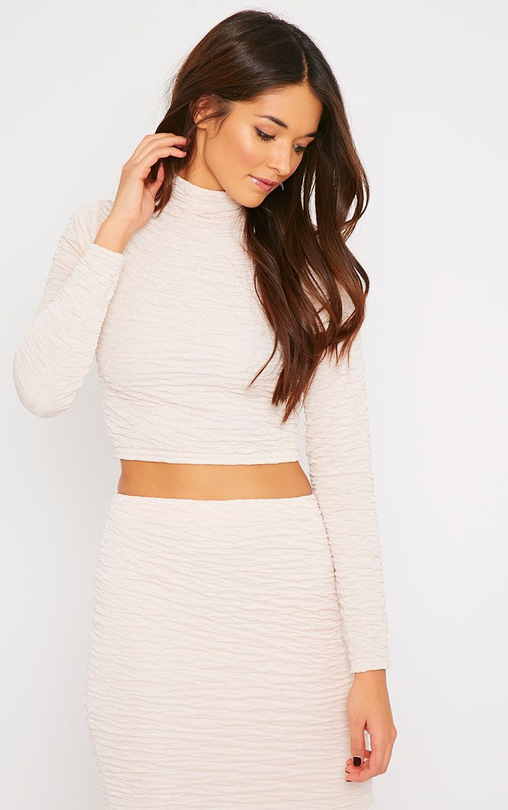 Lilly Nude Crinkle Turtle Neck Crop Top  1
