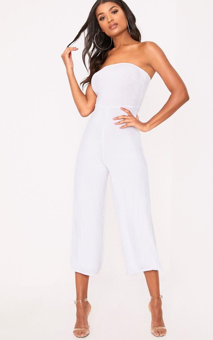 Combinaison jupe-culotte bandeau blanche