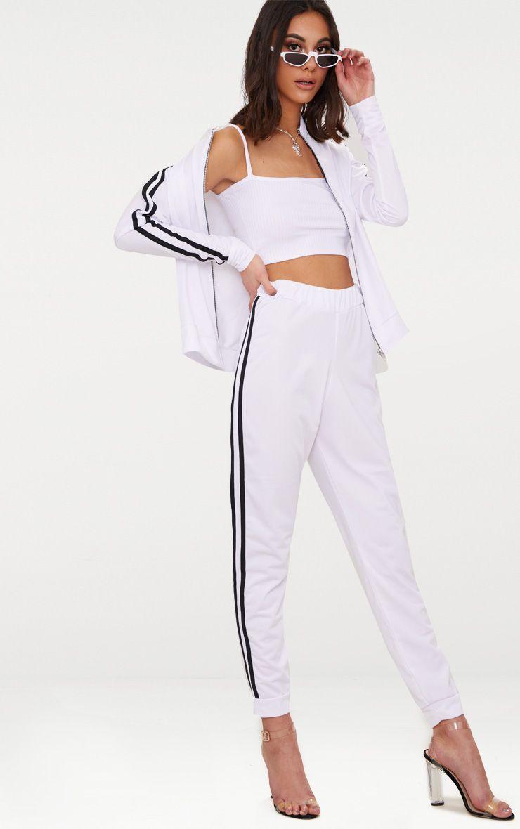 White Sport Stripe Joggers