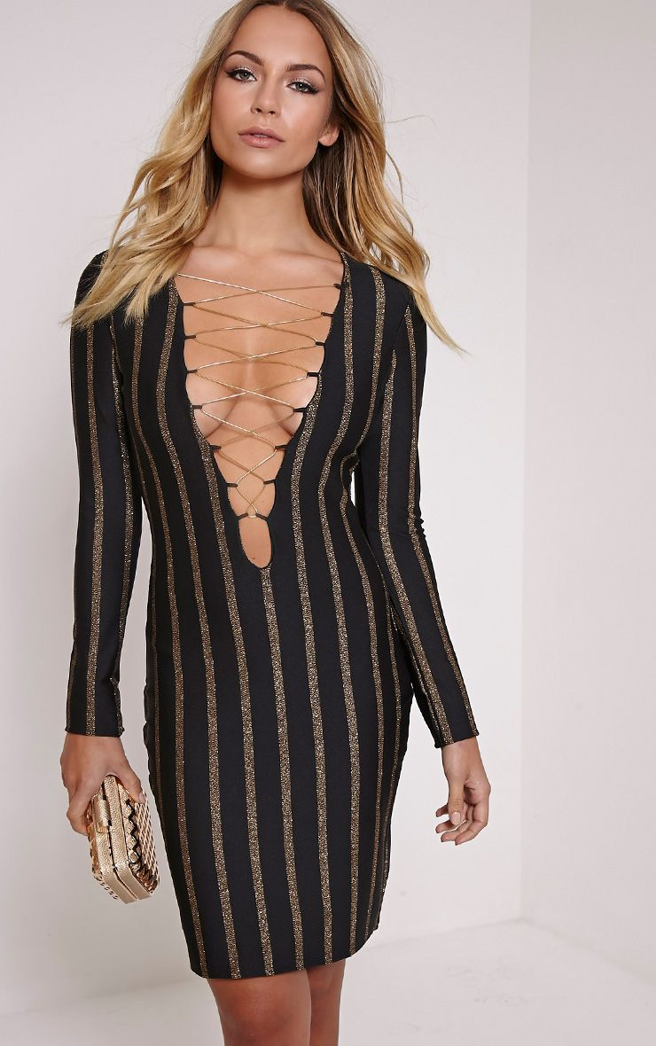 Alix Gold Stripe Lace Up Mini Dress 1