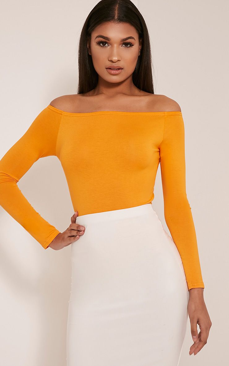 Bright Orange Bardot Bodysuit 1