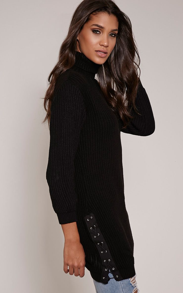 Sarina Black Lace Up Detail Jumper 1