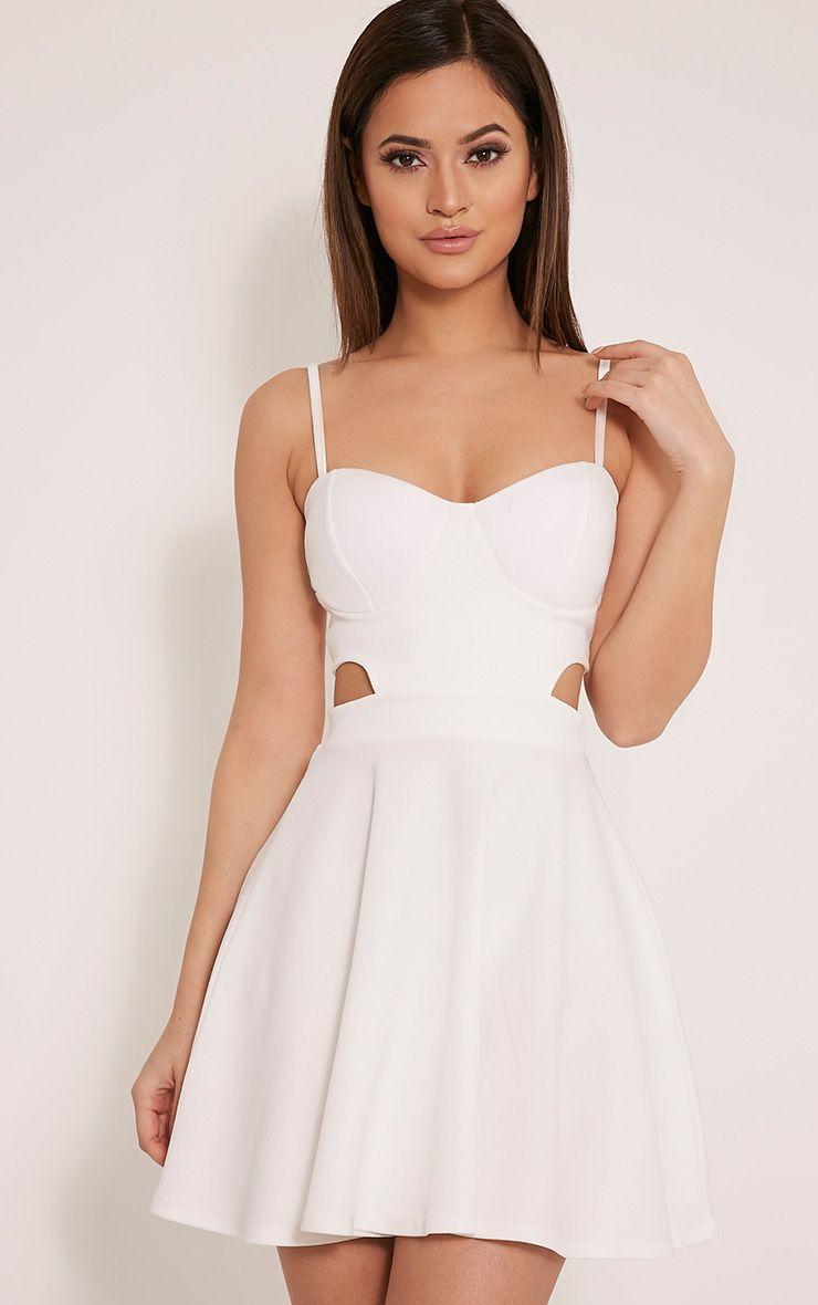 Chloey White Cut Out Crepe Skater Dress 1