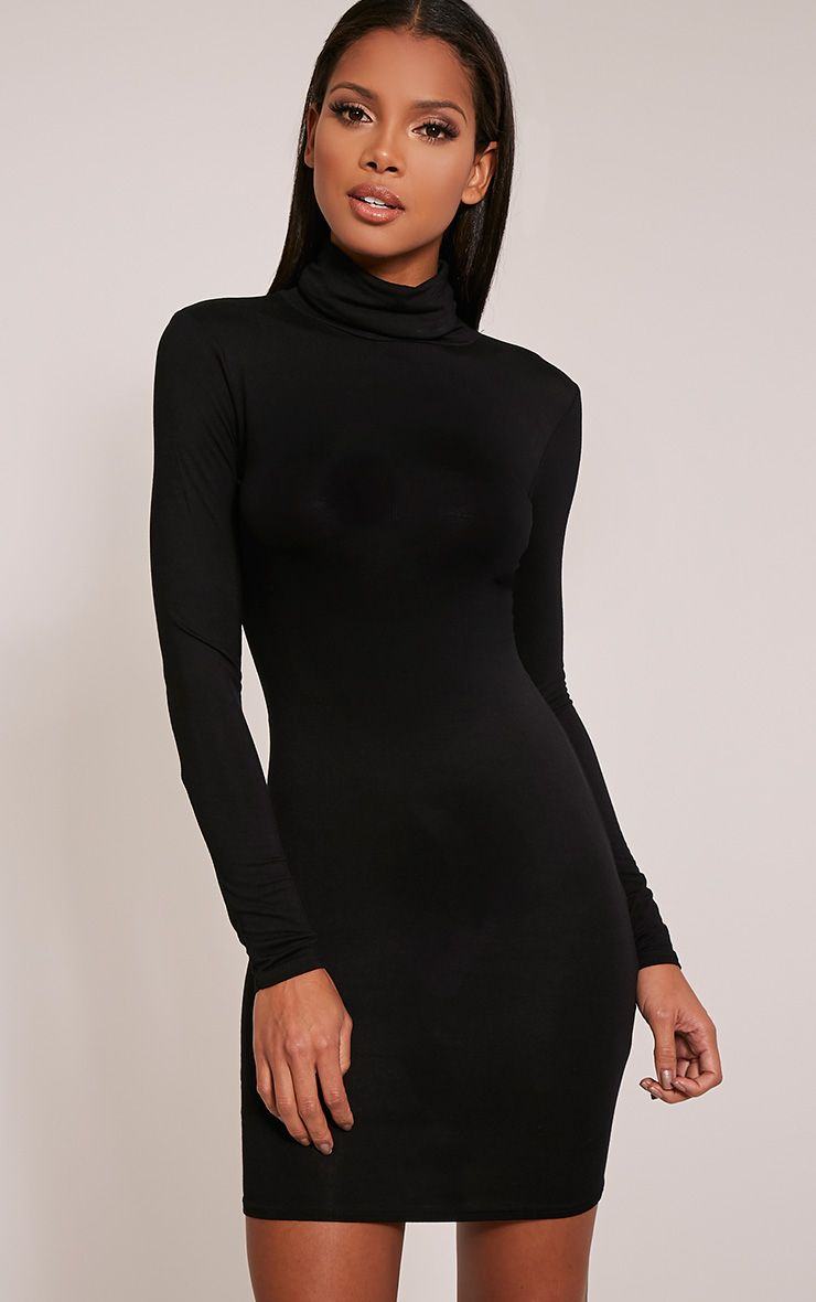 Basic Black Roll Neck Bodycon Dress 1