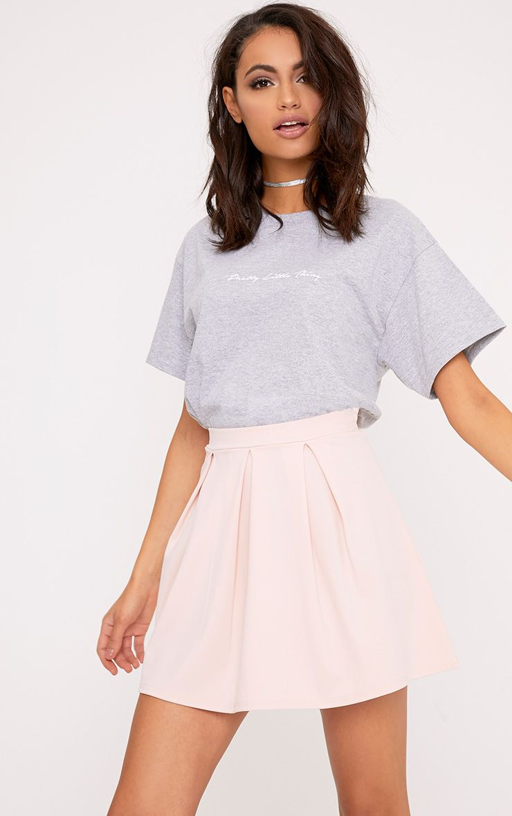 Rosabela Blush Box Pleat Skater Mini Skirt