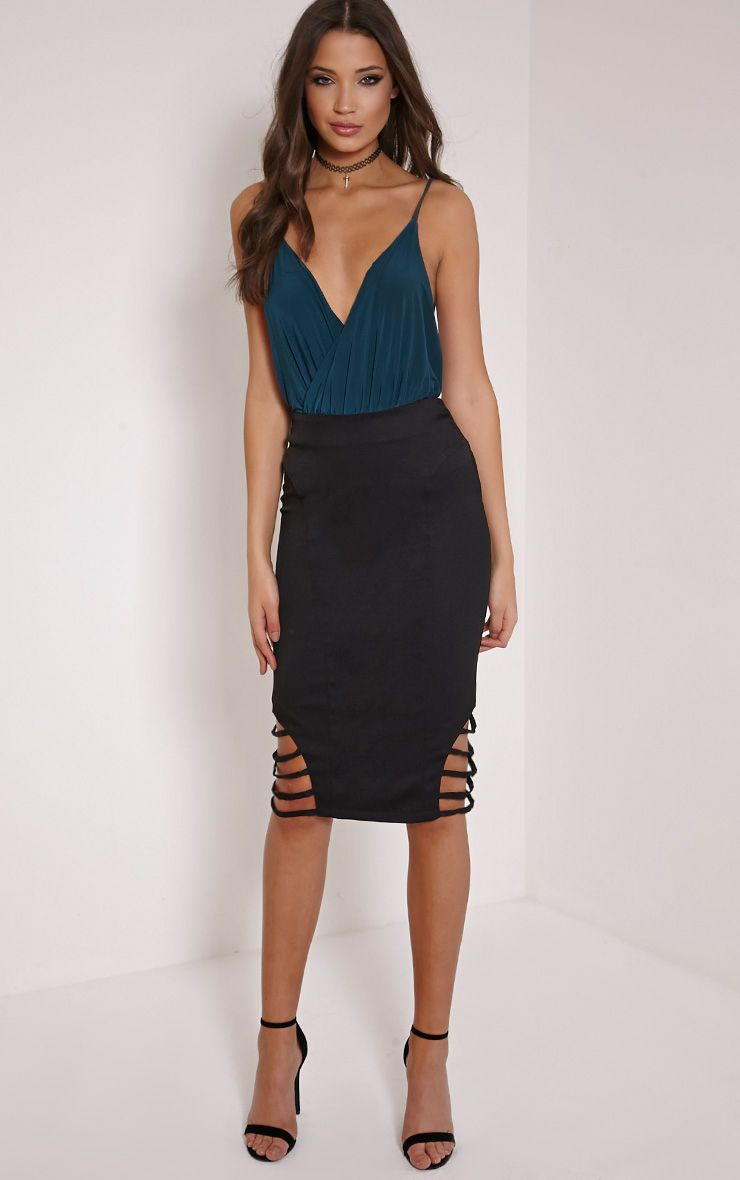 Wilow Black Ladder Cut Out Midi Skirt 1