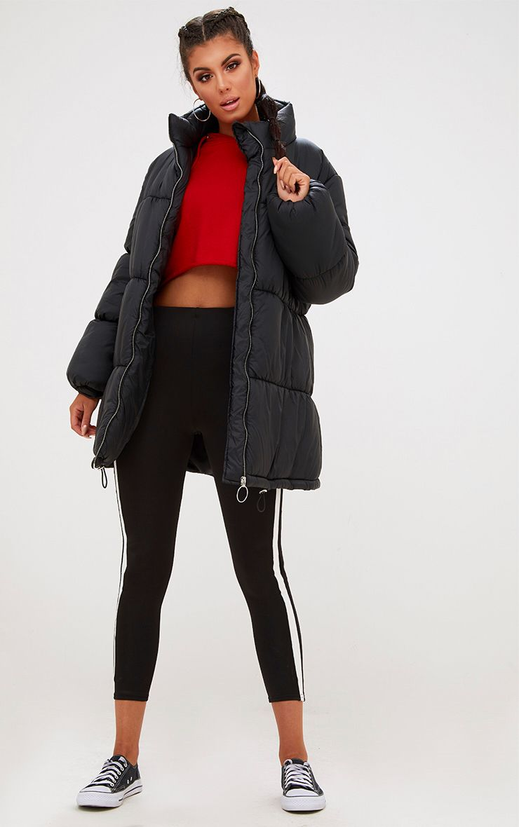 Black Ring Pull Longline Puffer Jacket