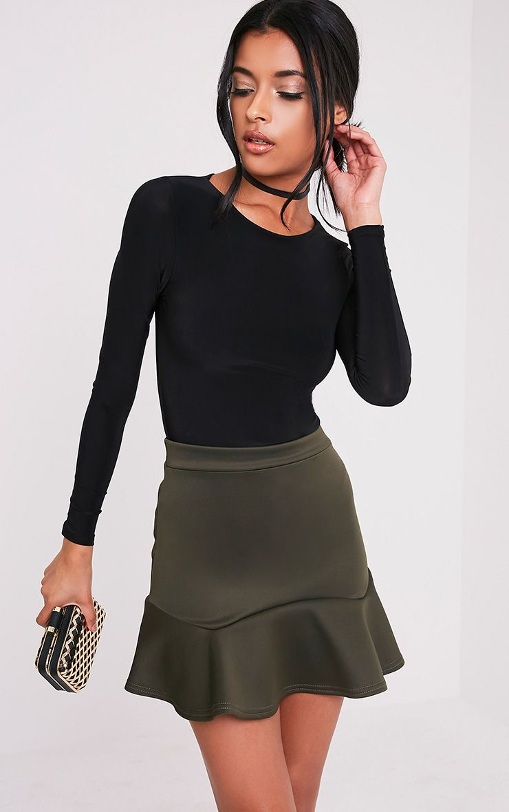 Verity Khaki Flippy Hem Mini Skirt