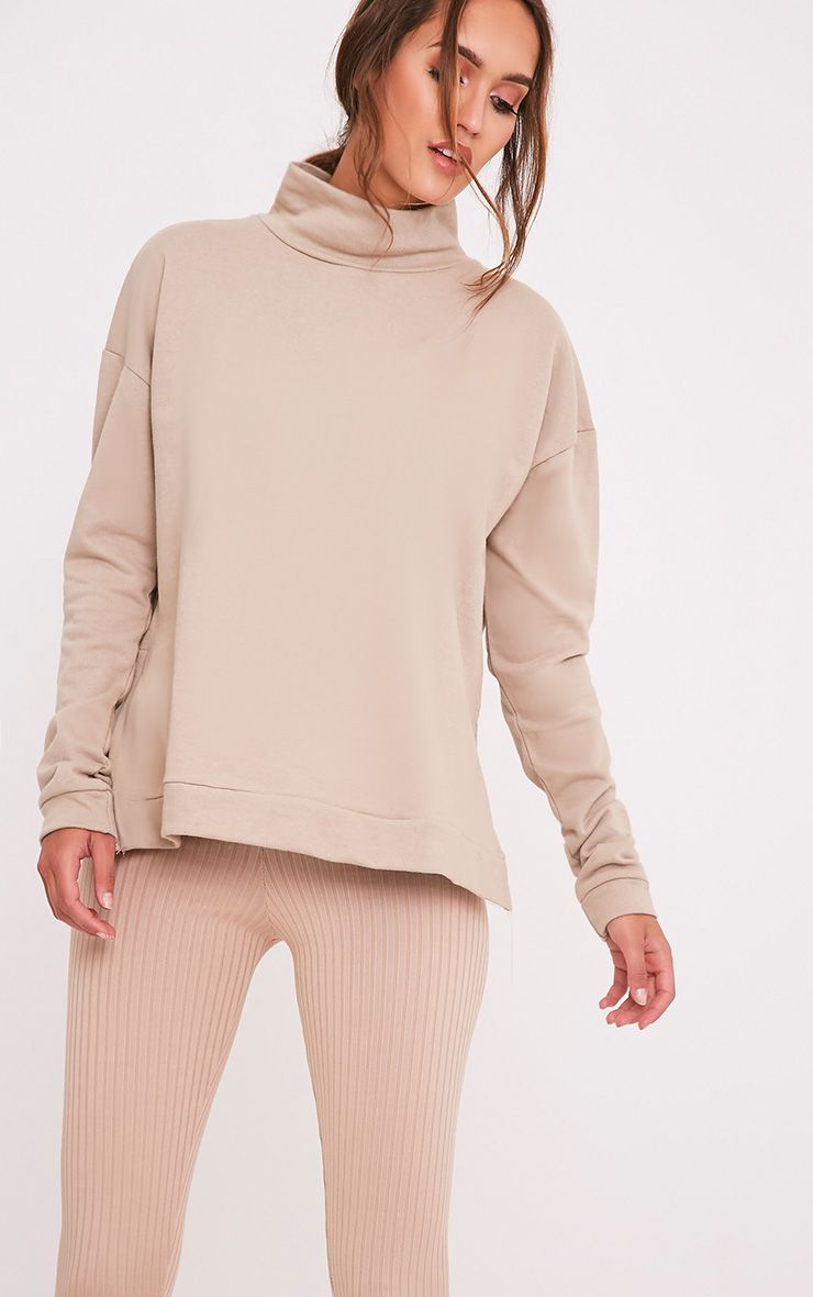 Ema Taupe Turtle Neck Oversized Sweater 1
