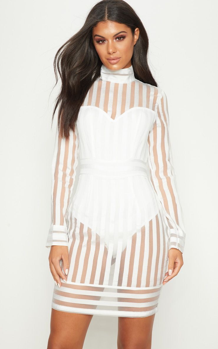 WHITE STRIPE HIGH NECK LONG SLEEVE BODYCON DRESS
