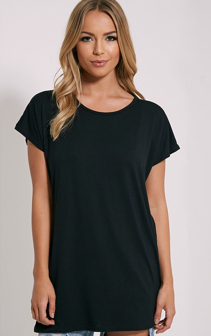 Basic Black Oversized Round Neck T-Shirt