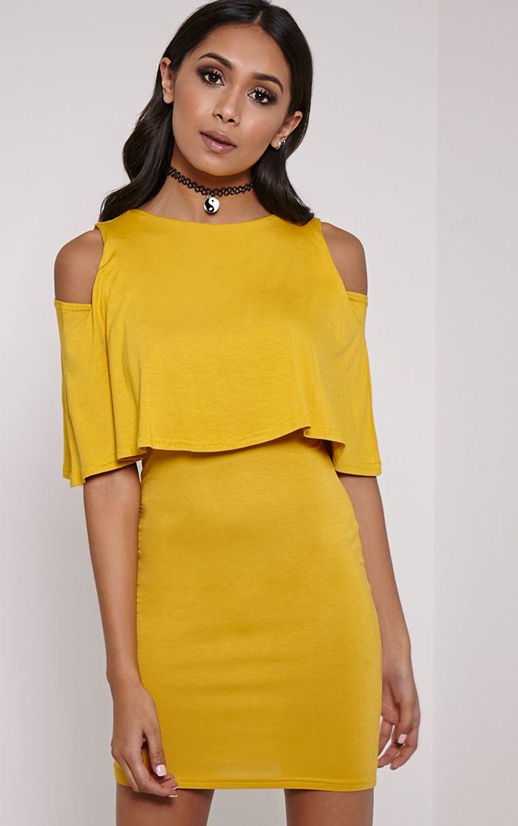 Lydia Mustard Double Layer Mini Dress 1