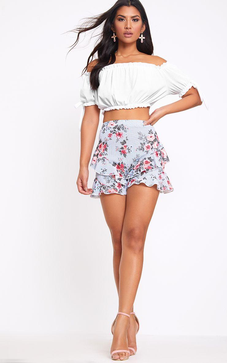 Navy Floral Stripe Frill Hem Shorts