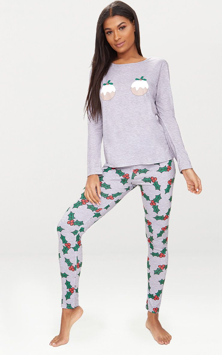 Grey Christmas Pudding Long Pyjama Set  1