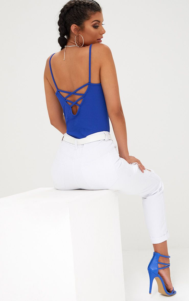 Cobalt Rib Cross Back Thong Bodysuit