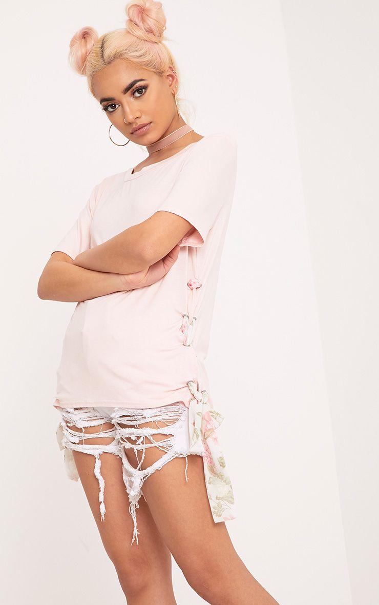 Deborah Nude Printed Mesh Tie Side Jersey T Shirt