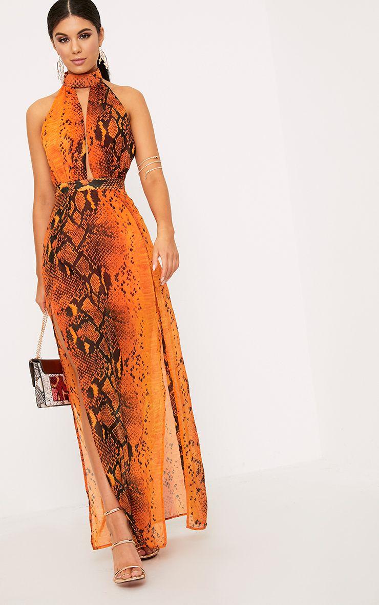 Leala Orange Snake Print Maxi Dress