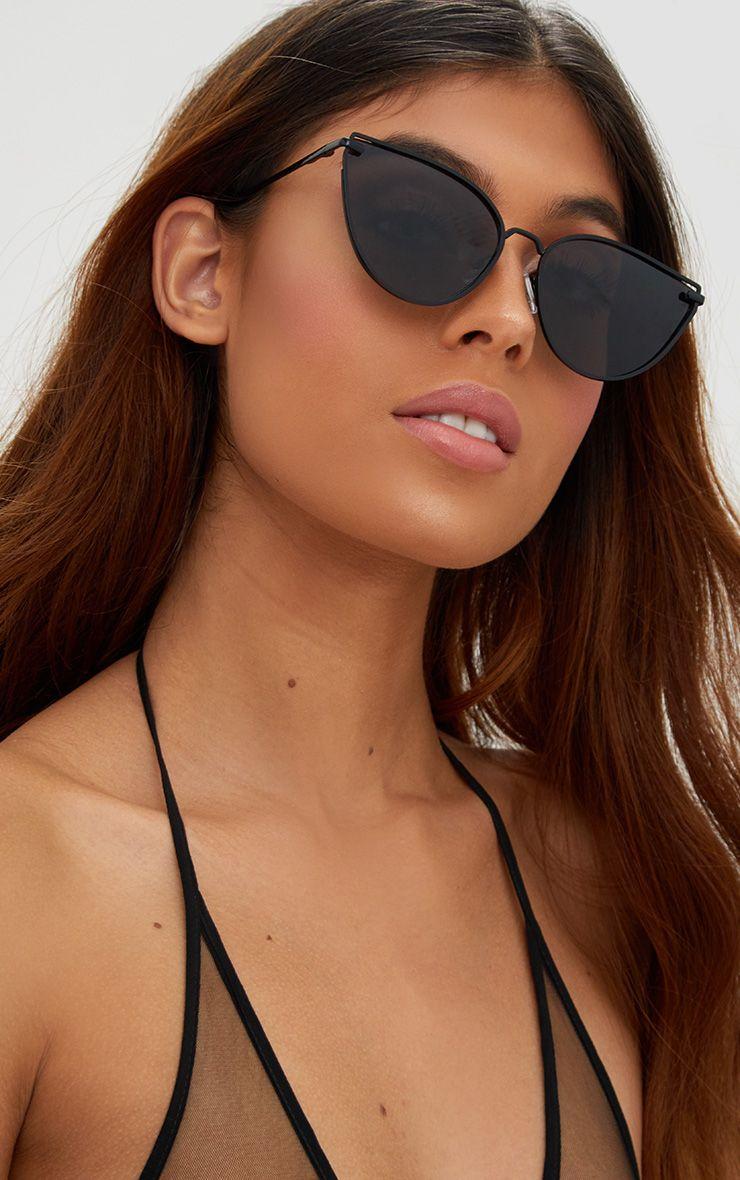 Ronnie Black Oversized Cat Eye Sunglasses