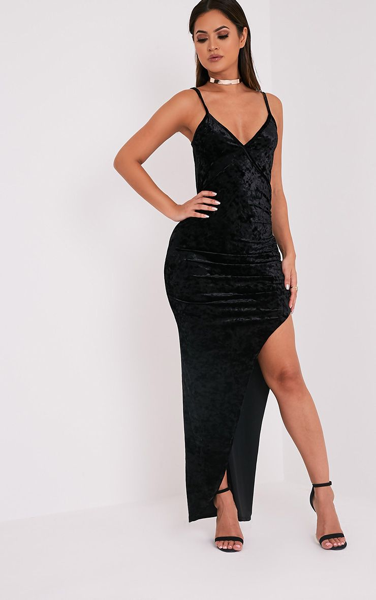 Sansia Black Crushed Velvet Asymmetric Maxi Dress
