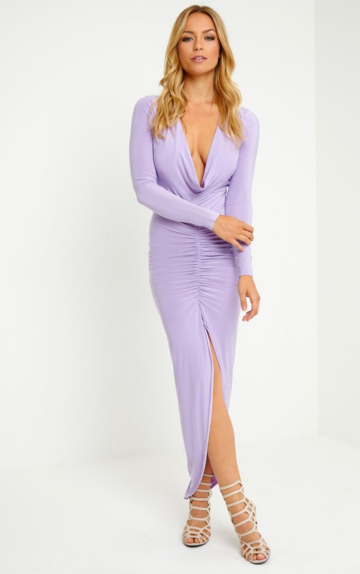 Ellie Lilac Slinky Ruched Maxi Dress 1