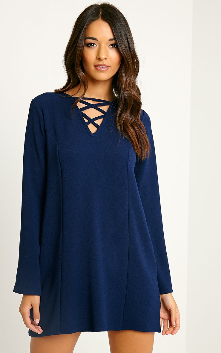 Liz Navy Cross Front Crepe Loose Fit Swing Dress 1