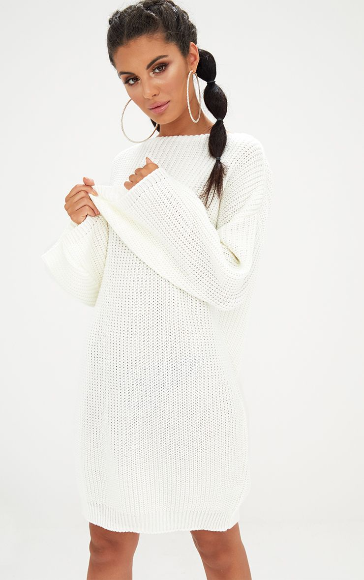 Cream Chunky Knit Flute Sleeve Jumper