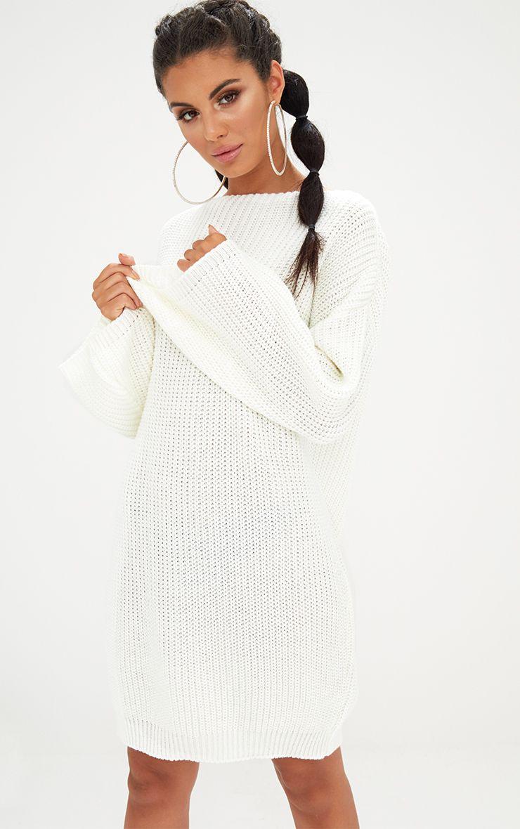 Cream Chunky Knit Flute Sleeve Jumper Dress 1