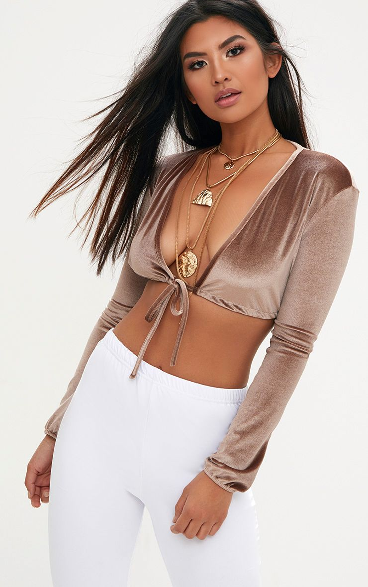 Truffle Velvet Plunge Long Sleeve Crop Top