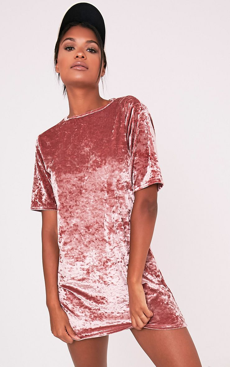 Maylia Dusty Pink Crushed Velvet T Shirt Dress