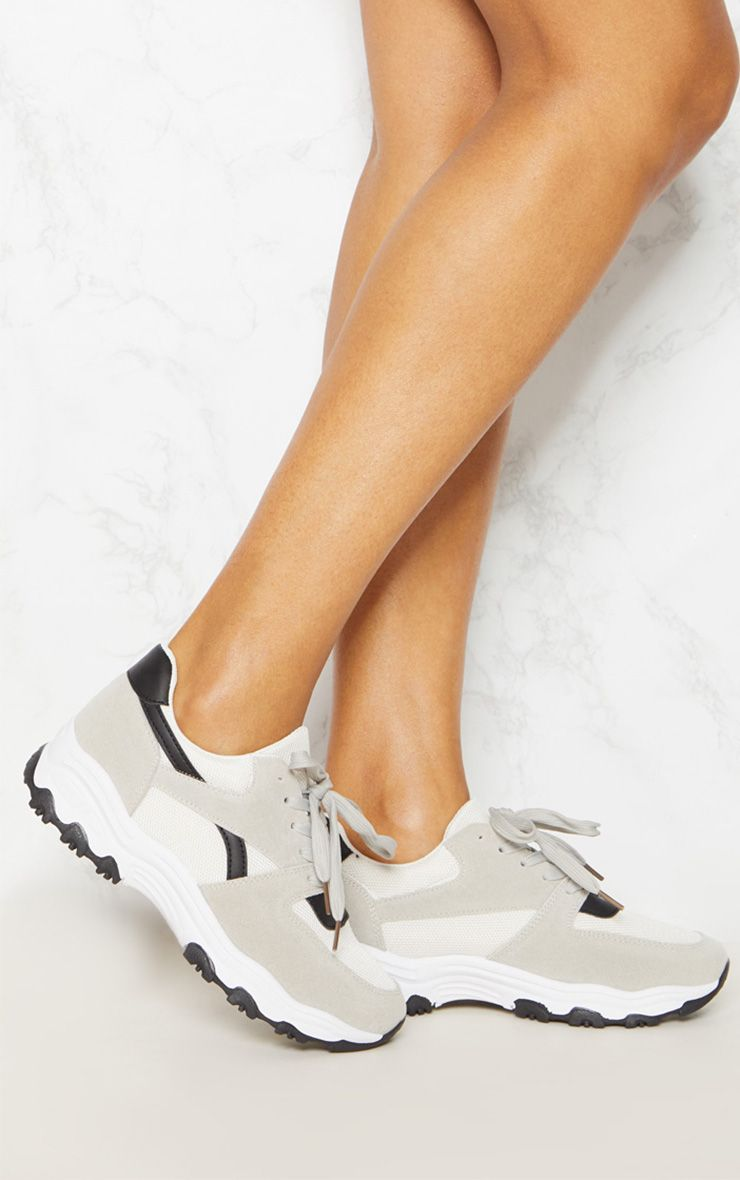 Grey Lace Up Chunky Trainer