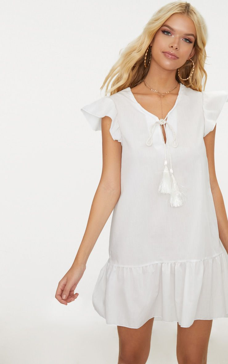 Cream Tie Frill Smock Dress