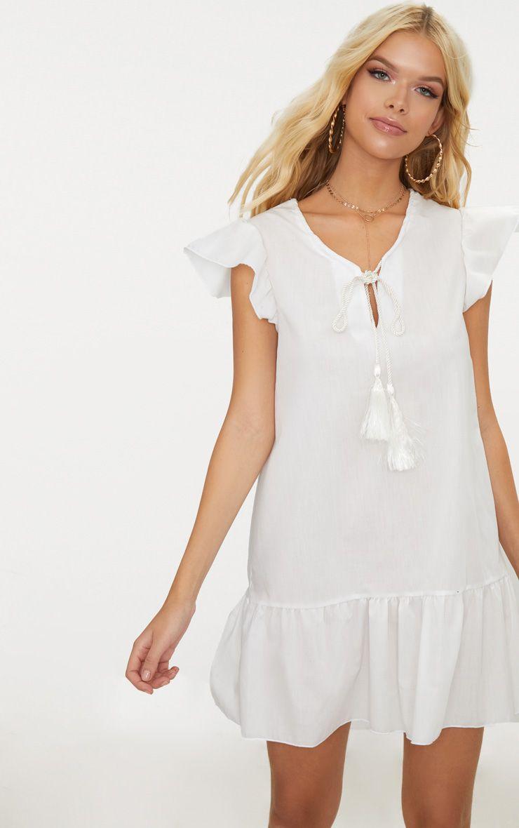 Cream Tie Frill Smock Dress
