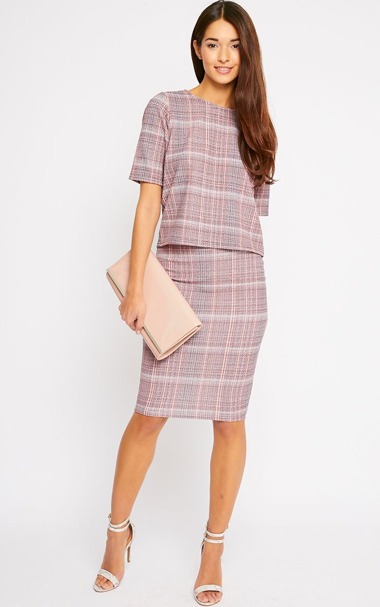 Cleo Coral Checked Midi Skirt 1