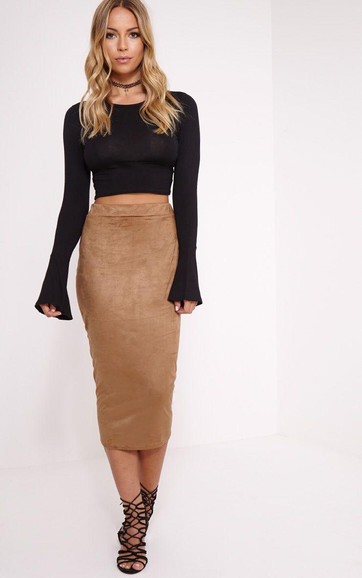 Amanda Camel Suede Midi Skirt 1