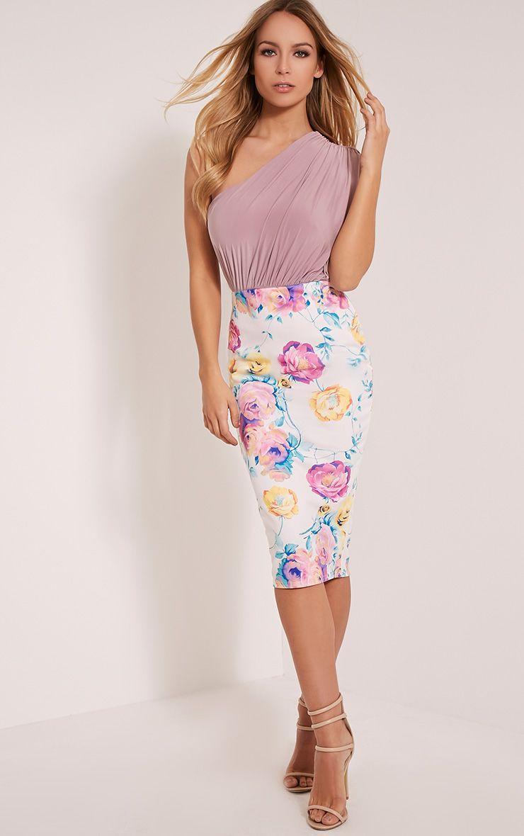Francesca Pink Floral Print Scuba Midi Skirt 1