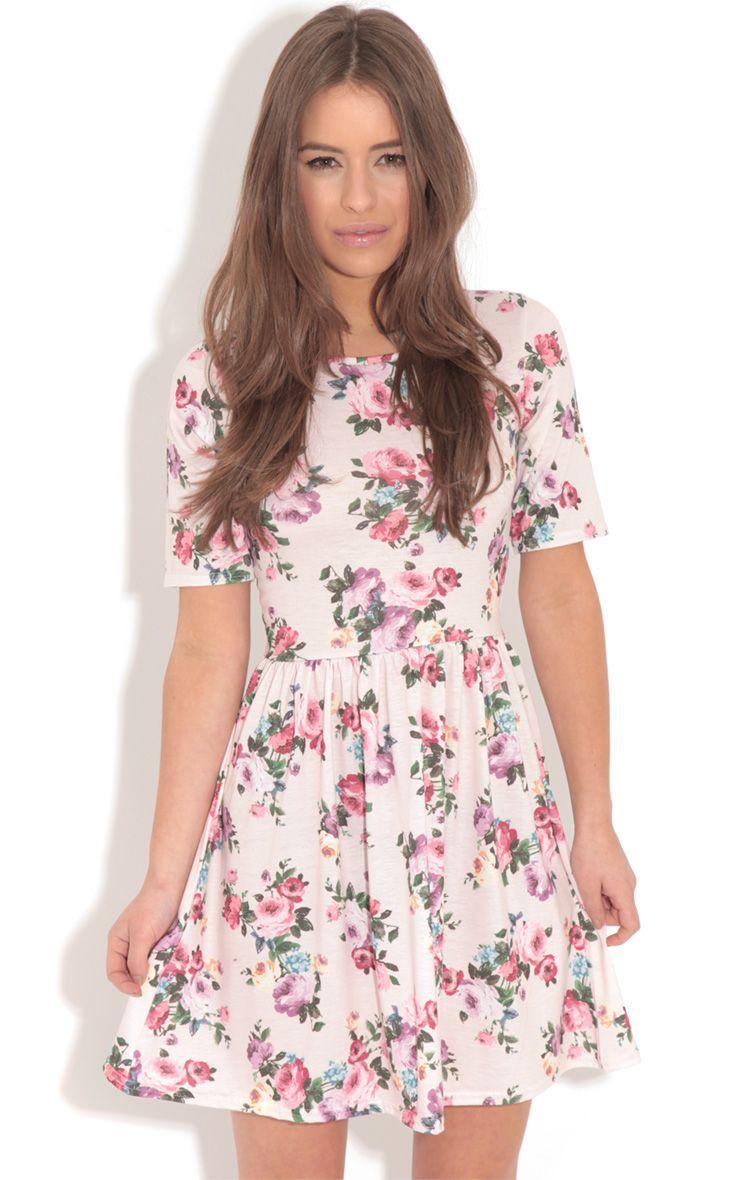 Christie Pink Floral Skater Dress 1